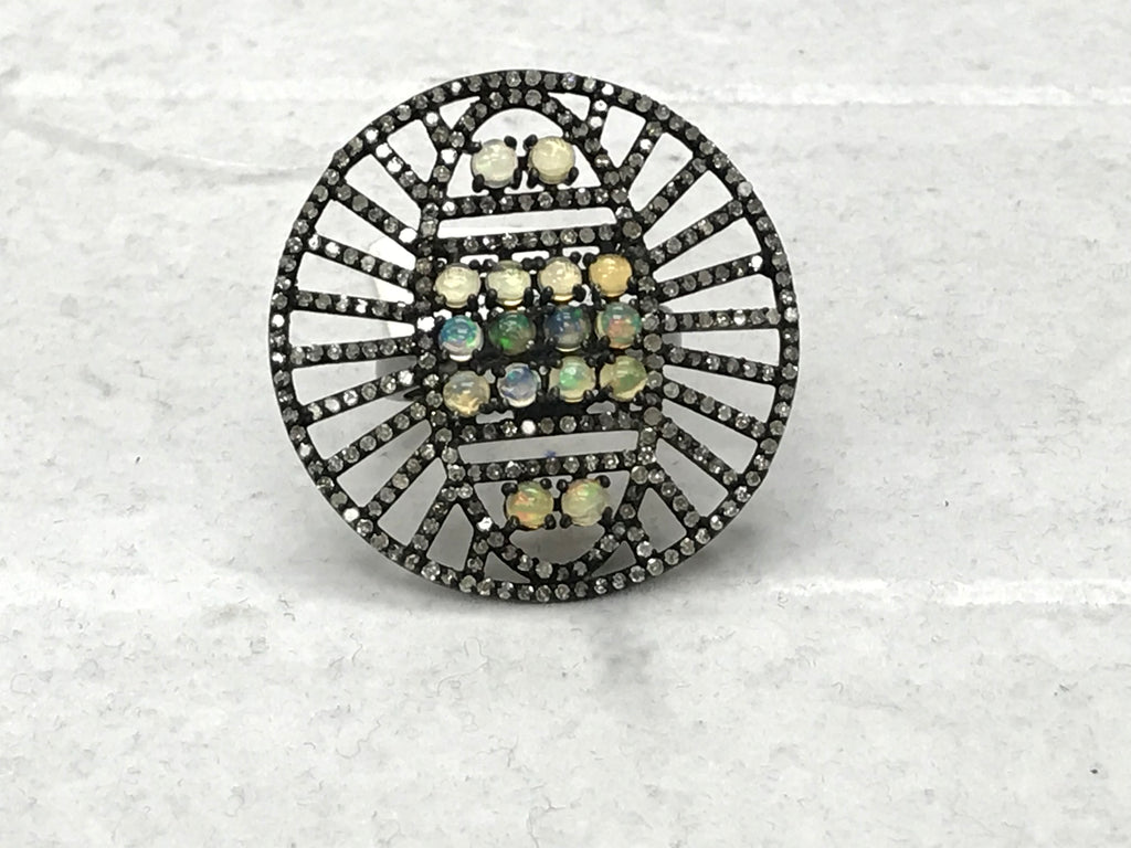 Round Shape Diamond And Natural Sleeping Beauty Turquoise Rings Pave Diamond Ring,Diamond Ring,Pave Ring, Statement Ring, Oxidized Silver