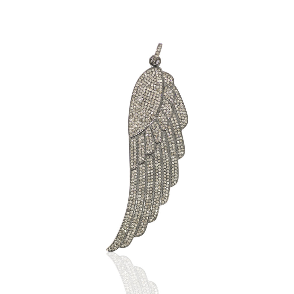 "Wings Diamond Pendant .925 Oxidized Sterling Silver Diamond Pendant, Genuine handmade pave diamond Pendant Size Approx 3.20""(80 x 29 MM)"