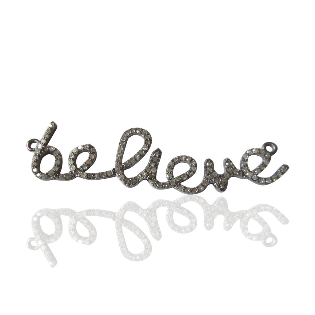 "Pave Diamond, Believe Word Diamond Charms, Amazing Piece, Appx 0.60"" Long (57 x 14 mm)"