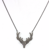 "Deer Diamond Necklace .925 Oxidized Sterling Silver Diamond Necklace, Genuine handmade pave diamond Necklace Size Approx 1.40""(35 MM)"
