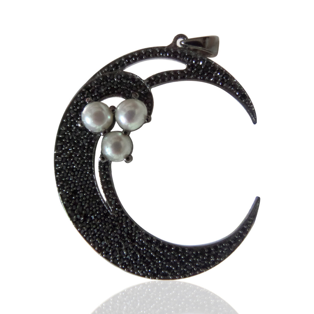 Crescent Moon Black Spinel, Pave Black Spinel , Black Spinel Clover Charm,Approx 1.92'' ( 48 x 36 mm) Oxidized Silver, Silver ,Black Spinel