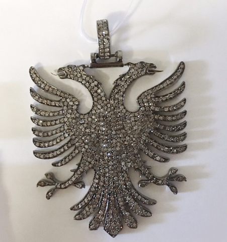 "Eagle Diamond Pendant .925 Oxidized Sterling Silver Diamond Pendant, Genuine handmade pave diamond Pendant Size Approx 2.32""(42 x 58 MM)"
