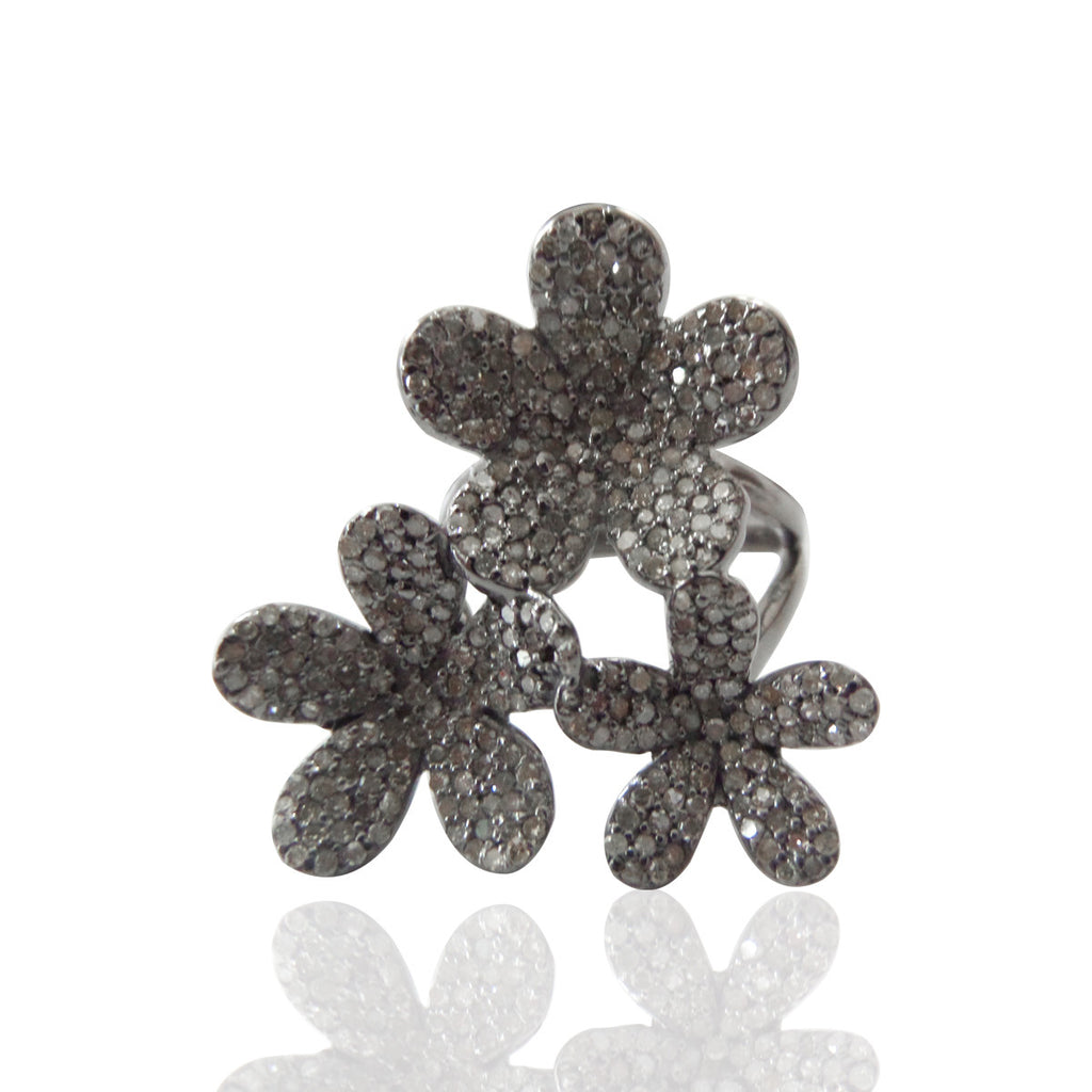 "Flower Pave Diamond Ring .925 Oxidized Sterling Silver Diamond Ring, Genuine handmade pave diamond Ring Size Approx 1.20""(28 x 30 mm)"