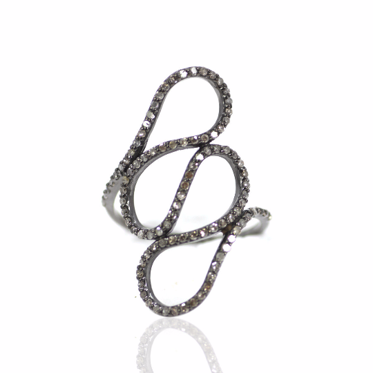 Pave Diamond Ring of Sterling Silver Studded with Natural Diamond Vintage Style Ring Jewellery
