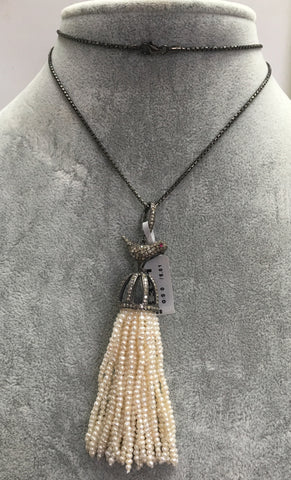 Bird Diamond and Pearl Tassel Necklace