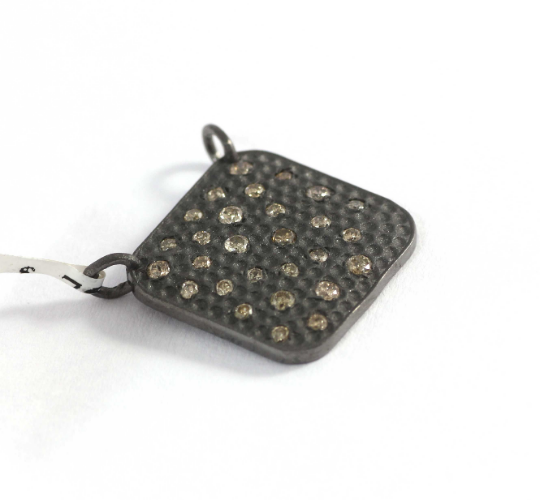 Square Shape Diamond Pendant .925 Oxidized Sterling Silver Diamond Pendant, Genuine handmade pave diamond Pendant.