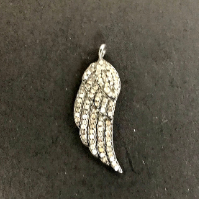 "Wings Diamond Pendant .925 Oxidized Sterling Silver Diamond Pendant, Genuine handmade pave diamond Pendant Size Approx 1.12""(10 x 28 MM)"