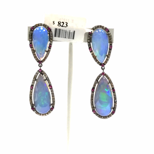 Tear Drop Shape Opal Smooth Cabochon and Diamond Earring