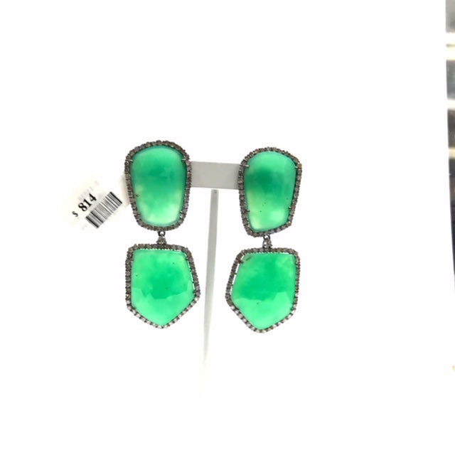 Chrysoprase Faceted Rosecut Slice Diamond Earrings