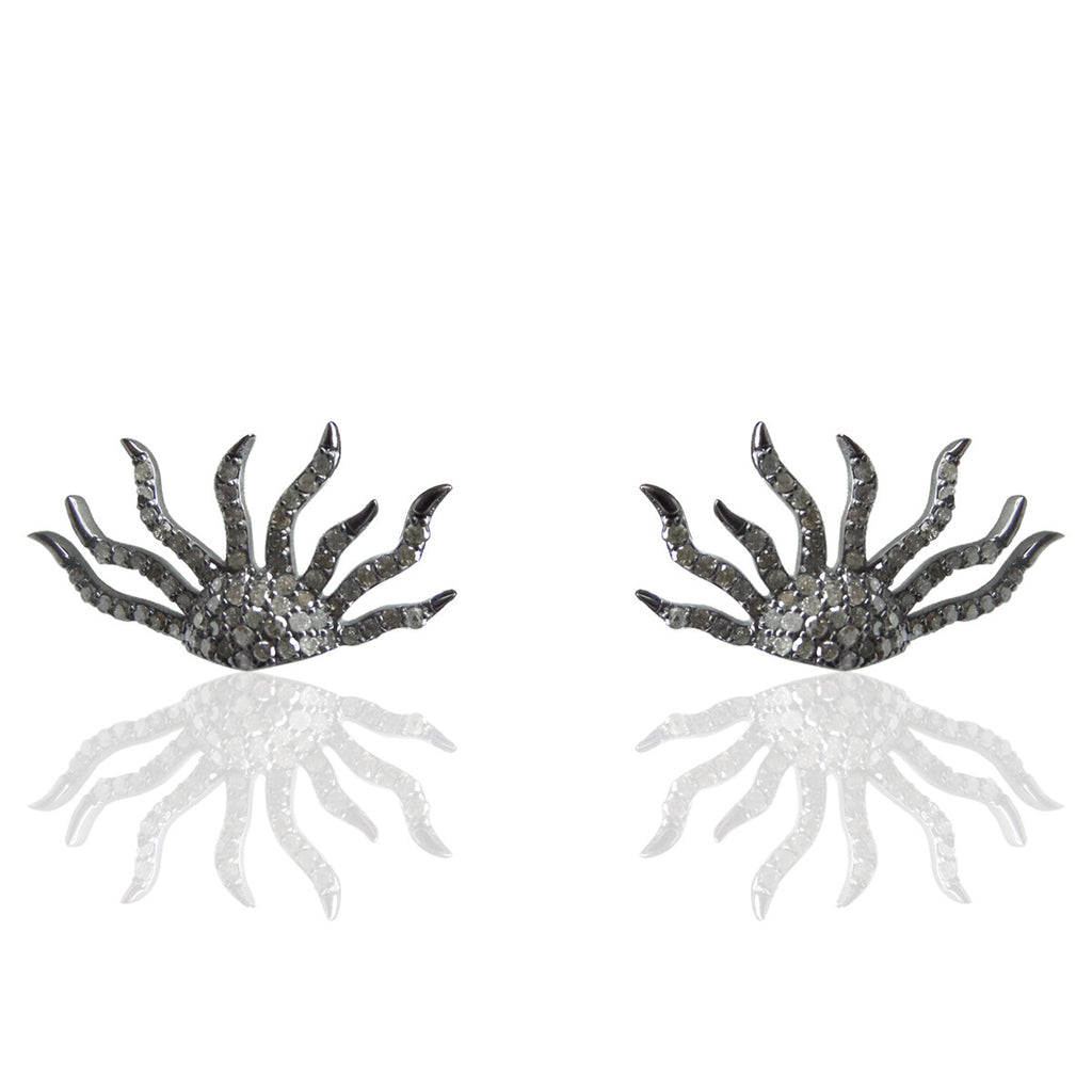 "Sun Diamond Silver Earring .925 Oxidized Sterling Silver Diamond Earring, Genuine handmade pave diamond Earring Size 1.12""(14 x 28 MM )"
