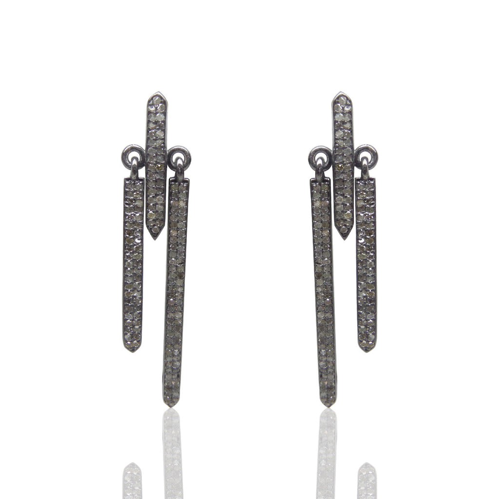 "Diamond Silver Earring .925 Oxidized Sterling Silver Diamond Earring, Genuine handmade pave diamond Earring Size 2.0""(50 x 9 MM )"