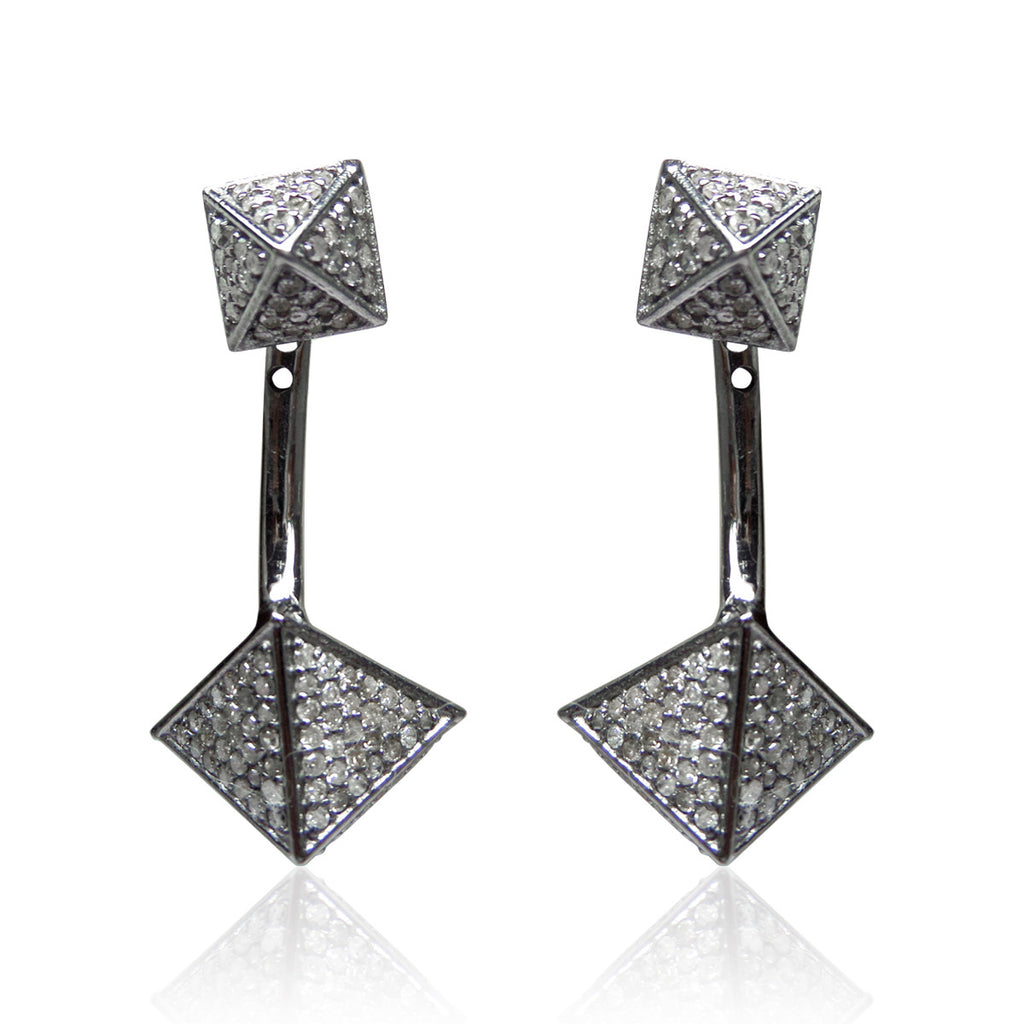 "Square Diamond Silver Earring .925 Oxidized Sterling Silver Diamond Earring, Genuine handmade pave diamond Earring Size 1.48""(17 x 37 MM )"