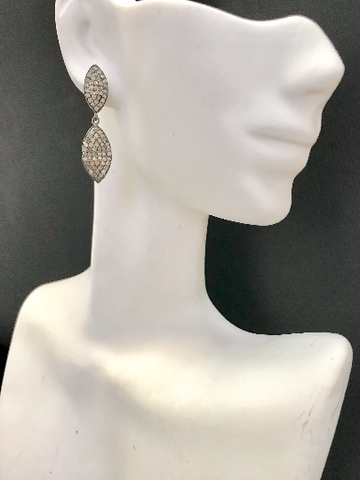 "Marquise Diamond Silver Earring .925 Oxidized Sterling Silver Diamond Earring, Genuine handmade pave diamond Earring Size 1.40""(9 x 35 MM )"