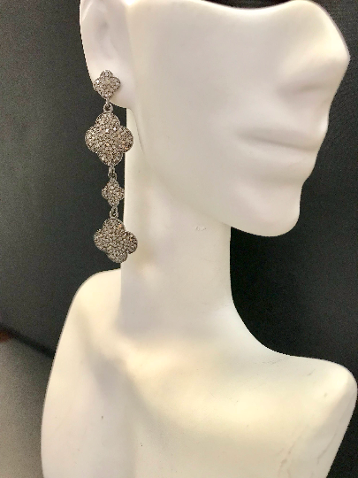 "Diamond Silver Earring .925 Oxidized Sterling Silver Diamond Earring, Genuine handmade pave diamond Earring Size 2.28""(15 x 57 MM )"
