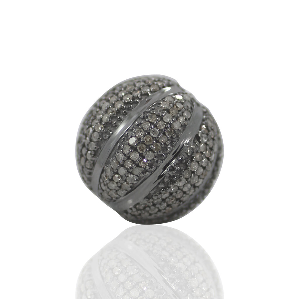 "Round Diamond Bead .925 Oxidized Sterling Silver Diamond Beads, Genuine handmade pave diamond Beads Size Approx 0.72""(18 MM)"