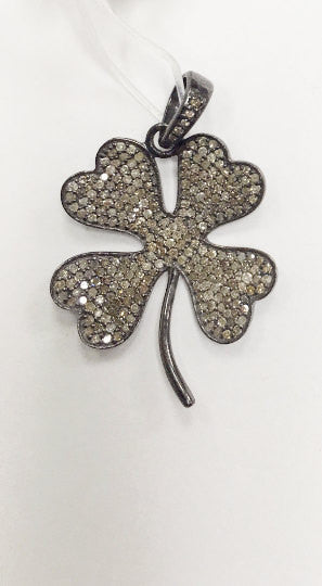 Clover Diamond Charms,28x24 mm Fine Natural Diamonds And Silver
