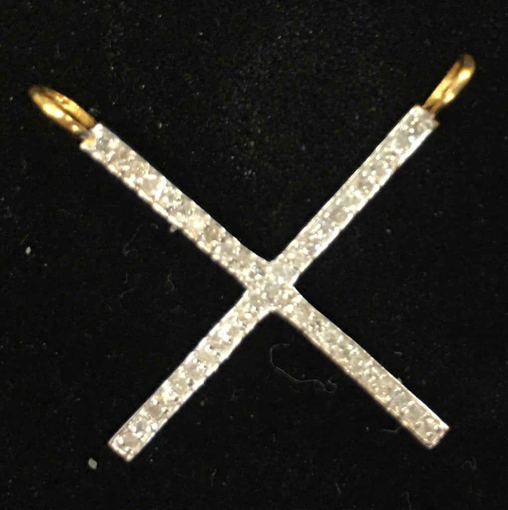 "14k Solid Gold X Shape Diamond Pendants. Genuine handmade pave diamond Pendant. Approx Size 0.72 ""(18 x 18 mm)"