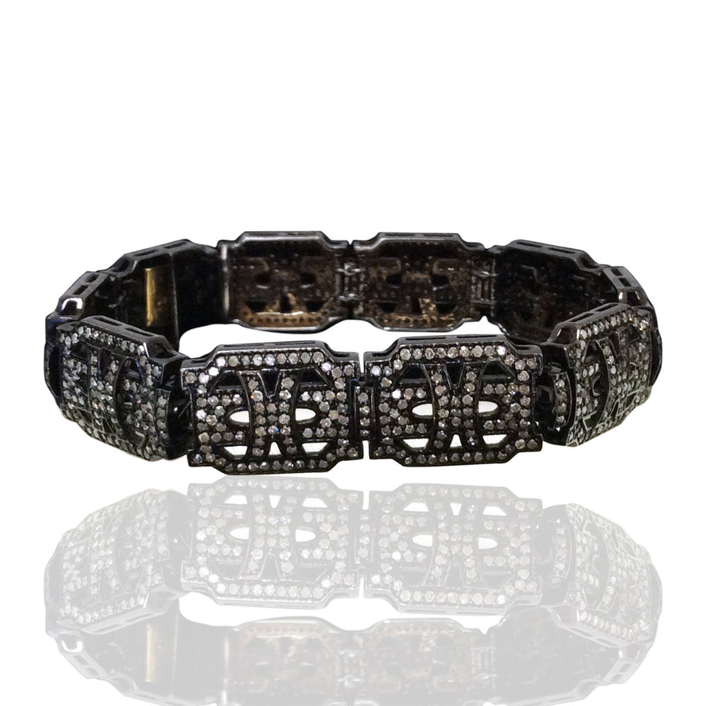 Diamond and Silver Black Rhodium Finish Bracelets