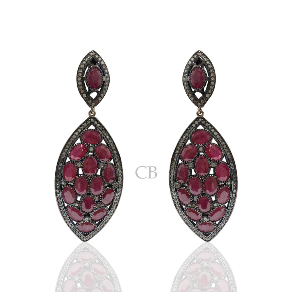 Diamond and Silver Ruby Black Rhodium Finish Earring