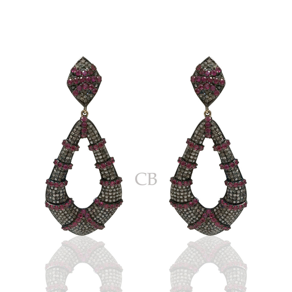 Diamond and Silver Ruby Black Rhodium Finish Earrings
