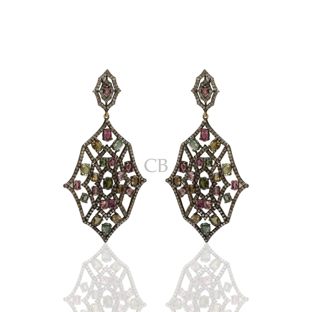 Diamond and Multi Tourmaline Silver Earrings
