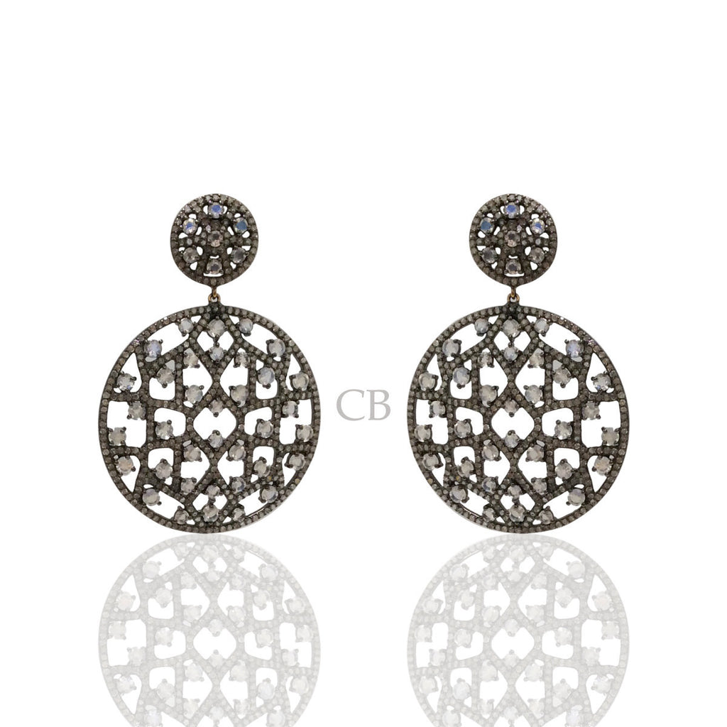 Diamond and White Rainbow Moon Stone Silver Black Rhodium Finish Earrings