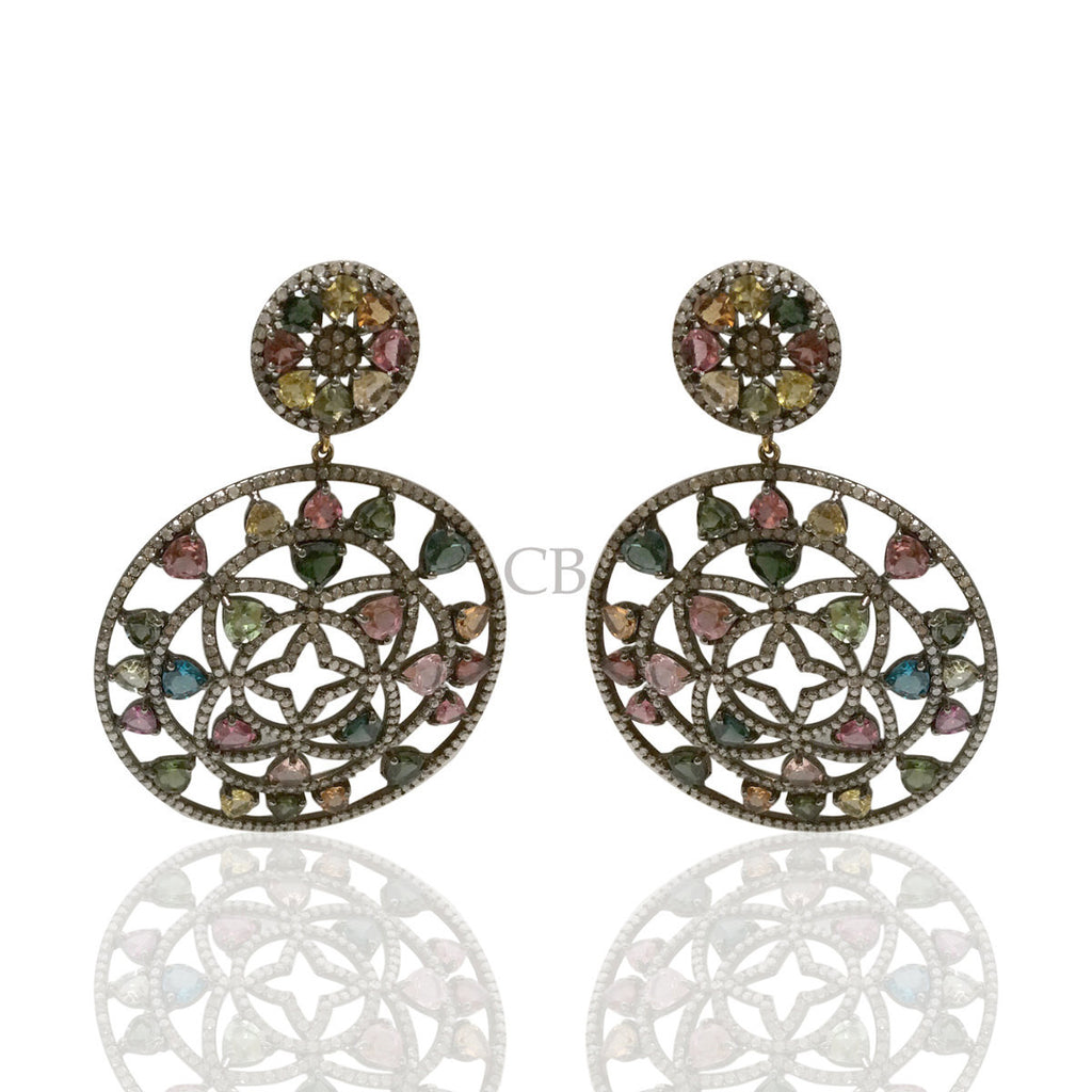 Diamond and Silver Multi Tourmaline Black Rhodium Finish Earring.