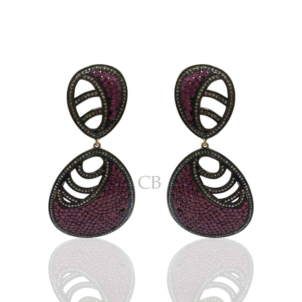 Diamond and Silver Ruby Black Rhodium Finish Earring.