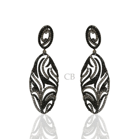 Diamond and Silver Black Rhodium Finish Earrings