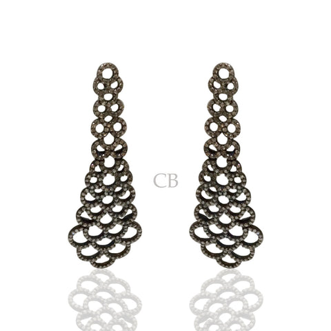 Diamond and Silver Black Rhodium Finish Earring.