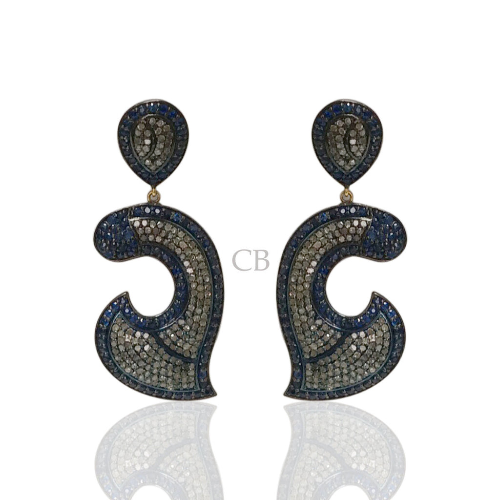 Diamond and Sapphire Silver Black Rhodium Finish Earrings