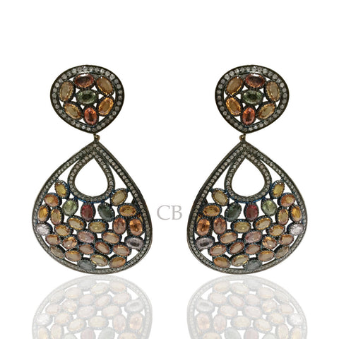 Diamond and Silver Multi Tourmaline Black Rhodium Finish Earring