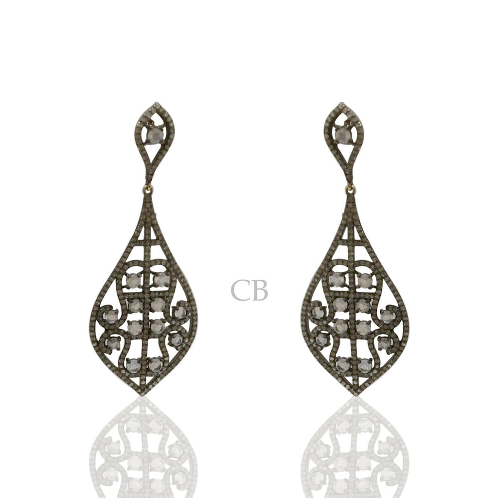 Diamond and Moon Stone Silver Black Rhodium Finish Earrings
