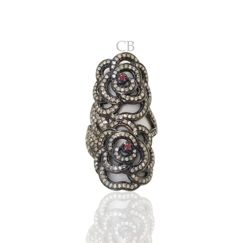 Diamond and Silver Ruby Stone Black Rhodium Finish Ring .