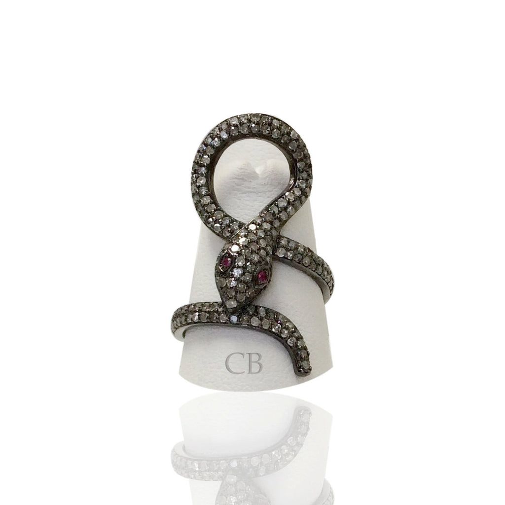 Snake Diamond and Silver Ruby Stone Black Rhodium Finish Rings