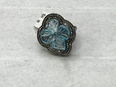 Flower Patel with Aqua Marine Diamond Ring