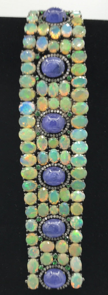 Opal and Tanzanite Designer Bracelet with Diamonds