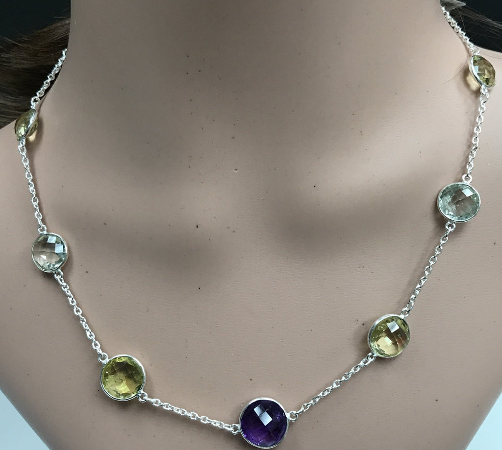 Multi GemStone Natural Rosecut fancy shape sterling silver necklace 18''