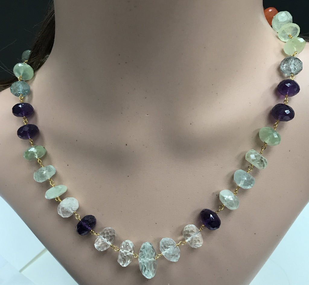 Mix Gemstone beads faceted rondelle sterling silver wire wrap necklace