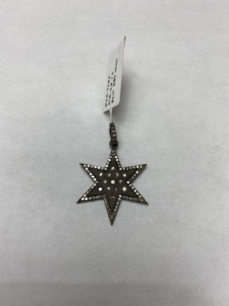 Star Shape Diamond Sterling Silver Pendant