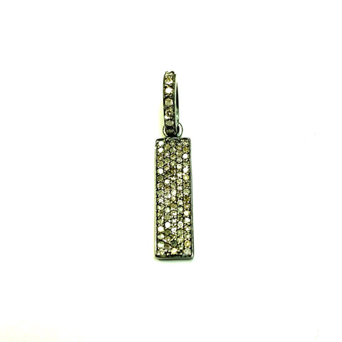 "Rectangle Diamond Charms .925 Oxidized Sterling Silver Diamond Charms, Genuine handmade pave diamond Charm Size Approx 0.72""(6 x 18 mm)"