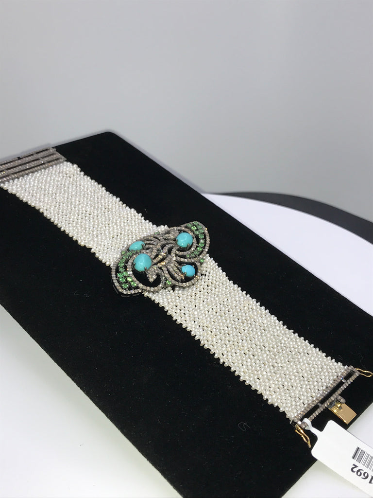 Turquoise and Diamond Designer Pearl Woven Bracelet
