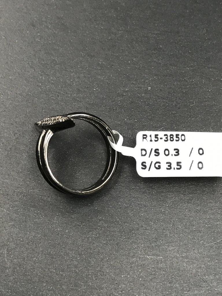 "Pave Diamond Ring .925 Oxidized Sterling Silver Diamond Ring, Genuine handmade pave diamond Ring Size Approx 1.08""(4 x 27 MM)"