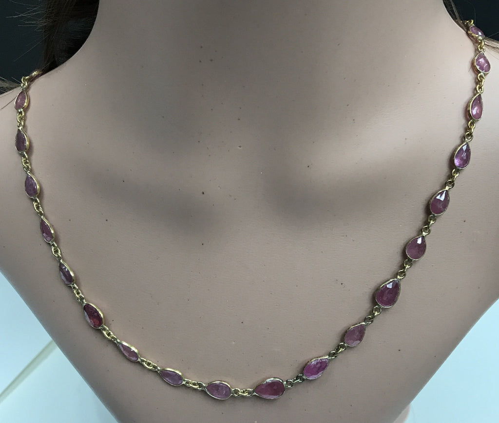 Ruby Treated cut flat pear sterling silver bezel chain necklace