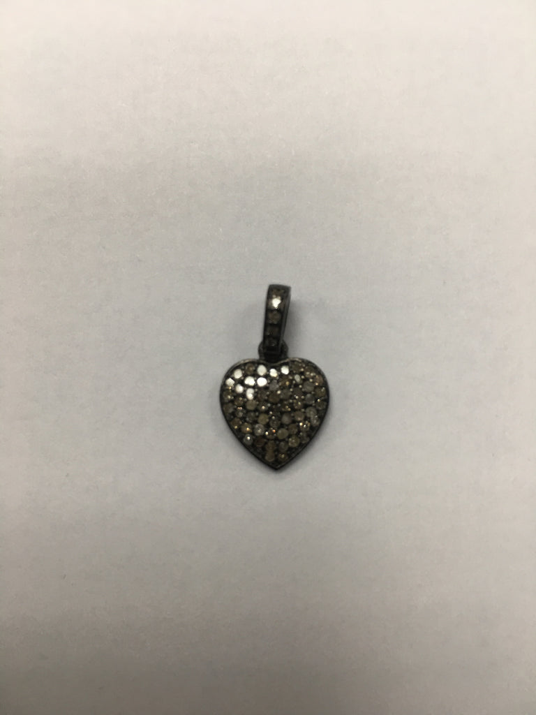 "Heart Diamond Charm .925 Oxidized Sterling Silver Diamond Charms, Genuine handmade pave diamond Charm Size Approx 0.52""(12 x 13 MM)"