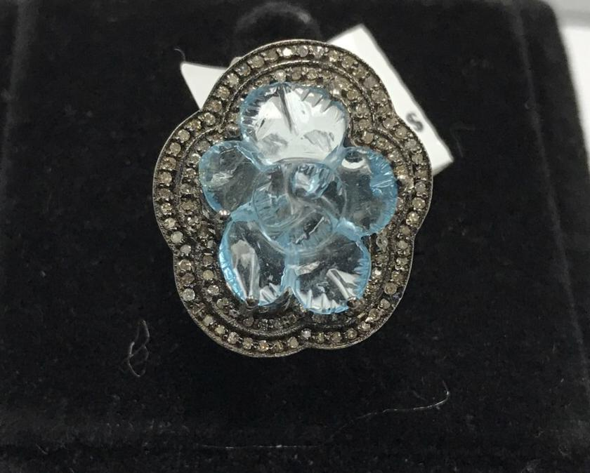 Blue Topaz Carving and Diamond Flower ring