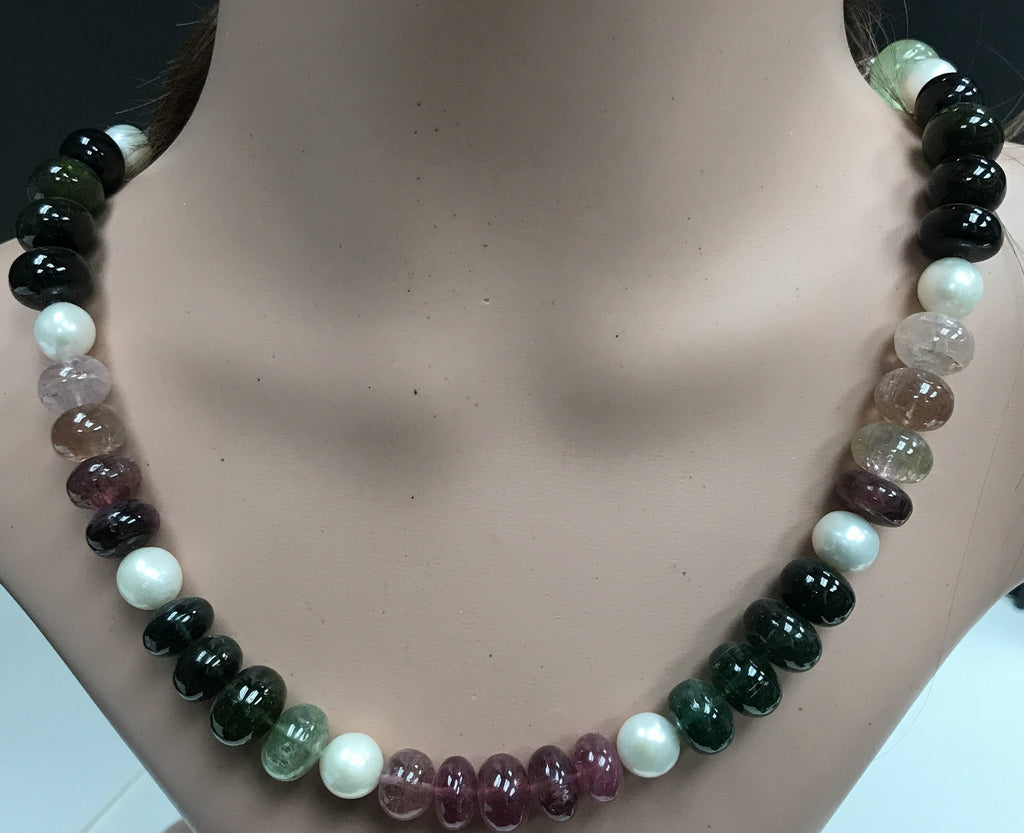 Tourmaline natural multi colour beads smooth rondelle necklace