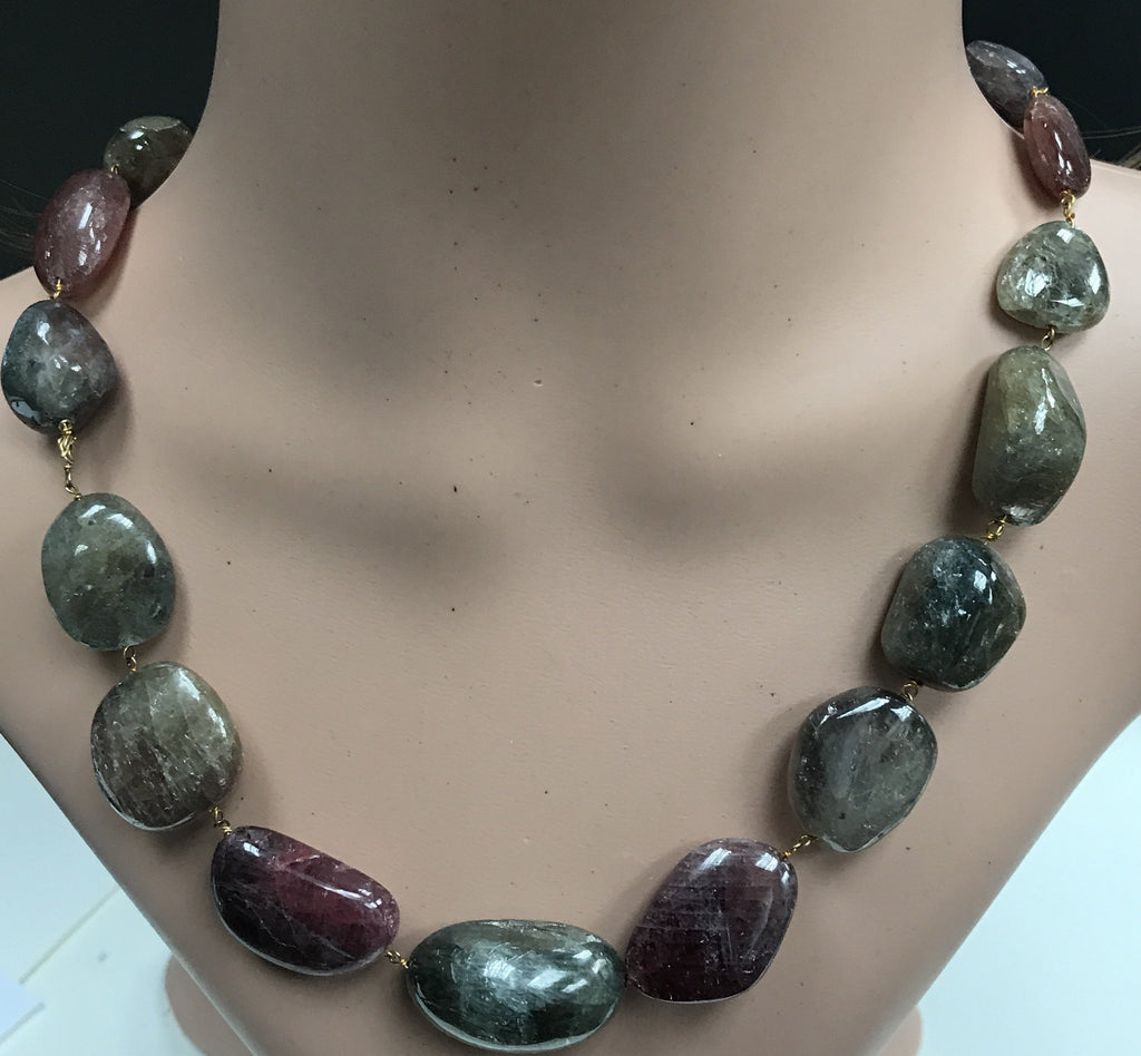 Sapphire natural multi colour beads smooth nuggets silver chain necklace