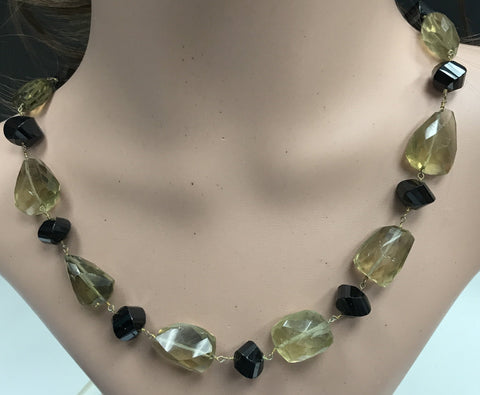 Lemon Quartz Beads Facetted Nugget sterling silver rosary necklace 18''