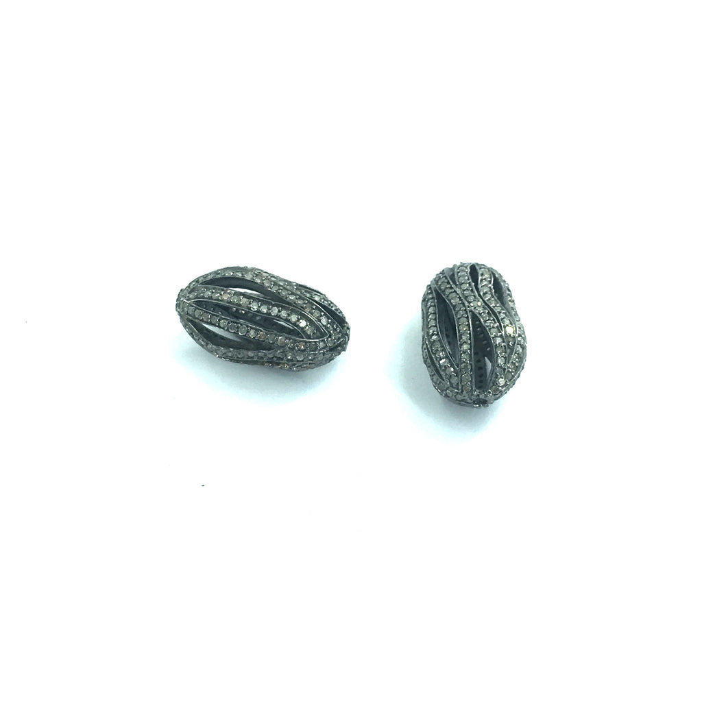 "Long Nugget Diamond Bead.925 Oxidized Sterling Silver Diamond Beads, Genuine handmade pave diamond Beads Size Approx 0.88""(14 x 22 MM)"